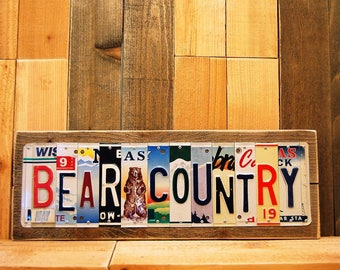 Bear Country Metal Recycled Upcycled Repurposed LIcense Plate Sign Cabin Mancave Indoor Outdoor Metal Decor