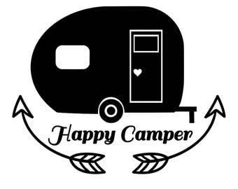 Happy camper svg, Camper svg, Camping svg, camper cut files, silhouette files, circut files, vacation svg, silhouette svg, svg, dxf, eps.
