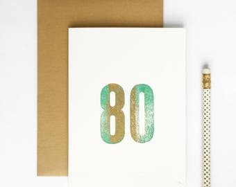 80th Birthday Letterpress Card