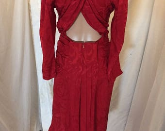Vintage Sidestreet 100% Silk Red Dress with Sexy Back and Long Sleeves Shirred Waist Size 6