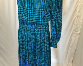 Vintage 80s 90s Papell Petites 100% Silk Teal Blue & Black Belted Dress 10