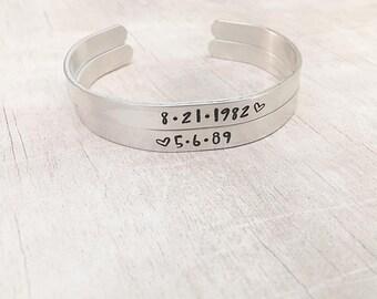 Wedding Date Bracelet - Gift for Bride - Date Bracelet - Cuff Bracelet Personalized