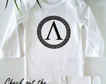 Greek bodysuit - Molon Labe - body suit - Spartan outfit - Greek key - Baby Boy & Girl Clothes - Baby gift - funny baby one piece