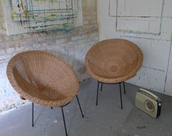 Wicker and Bamboo Vintage Chairs