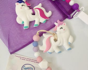 White Unicorn Teether - Silicone unicorn teether - Baby Teething Unicorn - Silicone Unicorn Chew Toy - Unicorn Teether With a Strap