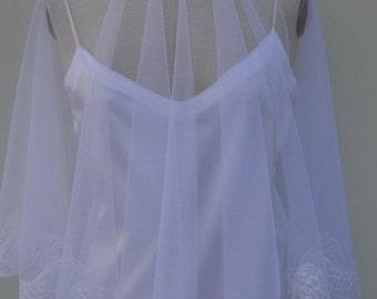 Wedding Veil lace white tulle, white long veil, Veil lace tulle white wedding, Bridal white tulle veil, Veil, white lace