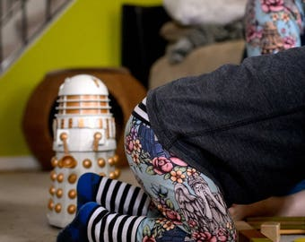 grow with me, cloth diaper pants, Doctor Who baby, TARDIS kids, geek baby, florals and stripes, dr who, dalek, weeping angel, cybermen