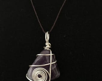 Amethyst Wire Wrapped Pendent
