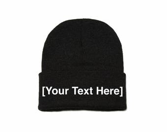 Custom Beanie, Custom Beanies, Custom Embroidered Beanie, Custom Beanie Hat, Dark Gray
