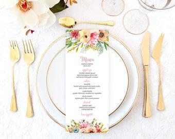 Wedding Menu, Floral Wedding Menu, Fall Wedding Menu, Garden Wedding Menu, Printable Wedding Menu, Fall Wedding Menu
