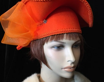 Vtg 70's Fabulous Orange Statement Hat ~Wild!~