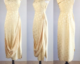 1920's Inspired Custard Yellow Satin Jacquard Ribbon Novelty Print Dress with Drapery Details | Size Small