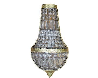 SINGLE Antique Crystal Sconce Vintage Wall Light Italian