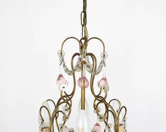 Vintage Chandelier Murano Chandelier Crystal Chandelier Colored Chandelier Antique chandelier Italian antique lamp Brass Chandelier