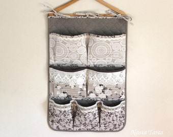 Wall pockets-crib pockets-pocket fabric organizer - baby organizer-nursery organizer-diapers holder-hanging storage-crib diapers organizer