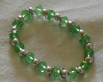 sparkly green and silver faceted rondelle bead bracelet
