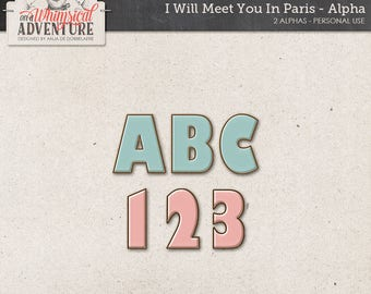 Alpha digital download scrapbooking alphabet, Paris French digital scrapbook elements, embellishments, clip art, vintage, pink, blue, enamel