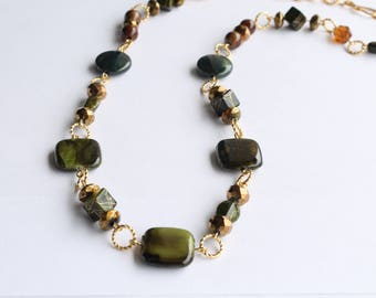 "Fashion Necklace, Forest Green Glass Beads, 24"" / Handmade Jewelry"
