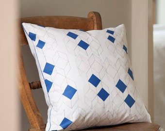 Geometric cushion, blue cushion, architectural pattern, feather cushion, decorative pillow, 45x45cm, 18x18 inches