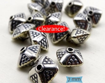 Bali Silver Stamped Pyramid Bicone Spacers--1 Pc--40% OFF | 29-BW201-1