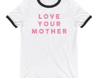 Ringer T-Shirt, Ringer Tee, Women's T-Shirt, Men's T-Shirt, Vintage Tee, Vintage T-Shirt, Mom Life, Gift for Mom, Love Your Mother