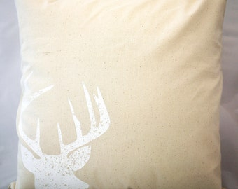White Stag Pillow | Stag Pillowcase | Deer Pillow | Stag Pillow | Printed Stag Pillow | Printed Deer Pillow | Living Room Decor