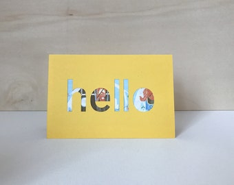 hello! handmade greeting card // just hello card // yellow paper greeting card
