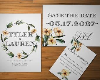 Flower Invite Digital Wedding Invite RSVP Card Wreath Invitation Printable  Invite Set Summer Green Wedding Watercolor