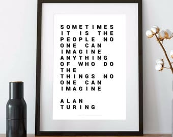 ALAN TURING, turing, alan turing print, alan turing quote, alan turing tribute, alan turing poster, computer science, amazing, miracle