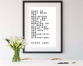 STEVE JOBS quote, steve jobs print, steve jobs, steve jobs poster, engineer gift, 8x10 print, 16x20 print