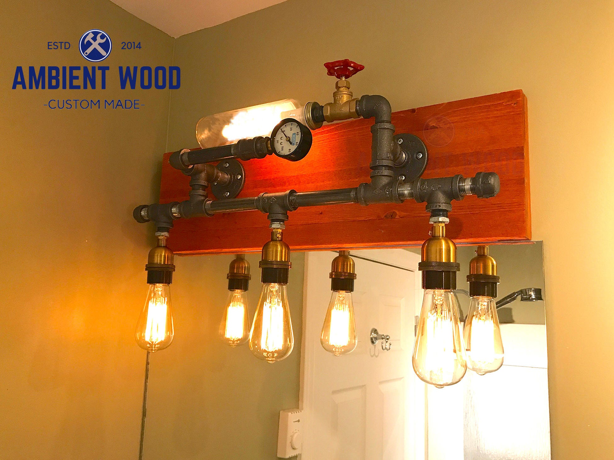 Pipe wood panel industrial bathroom vanity light fixture bar light arubaitofo Image collections