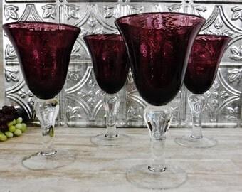 Set/Wine Glasses/Amethyst Wine Glass/Set of 4 Hand Blown Glass Barware Stemware/Purple/Tall/Large Bubble Glass/Thick Stem/Vintage
