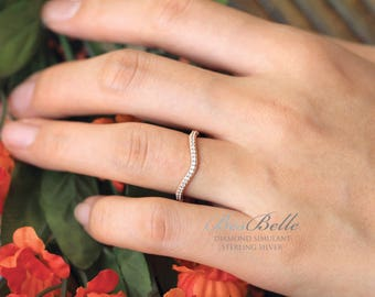 0.26 ct.tw Milgrain Curve Wedding Ring-Brilliant Cut Micro Pave Diamond Simulant-Half Eternity-Rose Gold Plated-Sterling Silver [5154RGH]