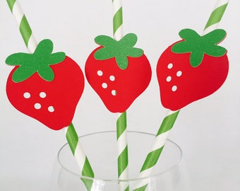 12 Strawberry Party Straws - Tutti Frutti - Two - Kids Birthday - Picnic - First Birthday - Fruit Theme - Summer - Pool Party - BBQ - Sweet