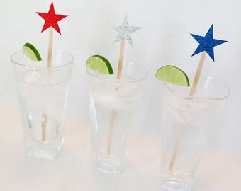 15 Fourth of July Swizzle Sticks - Stars - USA - America - Patriotic - Memorial Day - BBQ - 1776 - Red, White and Blue - Striped - Glitter
