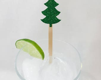 15 Christmas Stir Sticks - Christmas Tree - Red - Green - Christmas Party - Cheers - Stir Sticks - Holiday Party - Cocktail Party