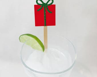 15 Christmas Stir Sticks - Christmas Present - Red - Green - Gift - Christmas Party - Cheers - Stir Sticks - Holiday Party - Cocktail Party