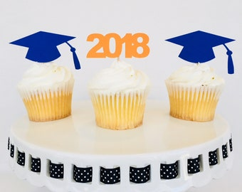 Graduation Cupcake Toppers - Cap and Gown - Congratulations Graduate - Graduation Party - 2018 - High School - College - Kindergarten