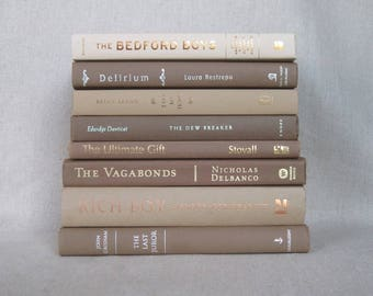 Coffee Colored Book Bundle, Decorative Book Set in Brown and Beige