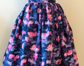 Pinup Fashion - '50s Inspired Full Gathered Skirt in Galaxy Print - Retro - Rockabilly (custom)