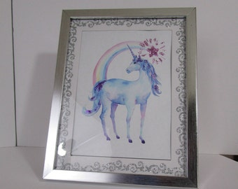 Unicorn framed art print  5x7 with glitter accents great for bedroom dorm decor