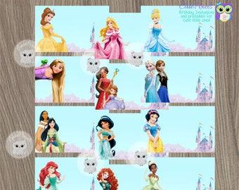 Disney Princess Favor Tags, Disney Princess Name Tags, Princess Birthday, Disney Princess Party, Princess Favor Tags, Disney Princess