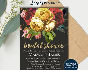 Fall Bridal Shower Invitation, Autumn Bridal Shower Invite, Wedding Invitation, Editable Template Instant Download, Winter Bridal Shower pdf