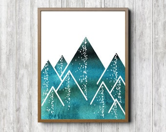 Instant Download - Geometric Mountain Print - Abstract Watercolor Mountain Wall Art - Teal / Turquoise Boys Room /Nursery - Office Wall Art