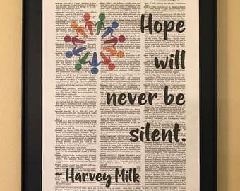 Hope will never be silent; Harvey Milk; LGBTQ; Pride; Page Art