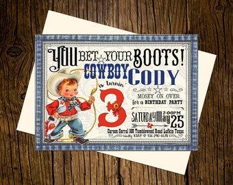 Cowboy Western Birthday Party Invitations Personalized Custom Printed Set of 12 Party Invites Vintage Ecru Rustic Red Blue Denim Boots