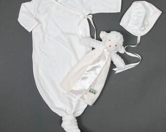 Alice Knot Gown & Bonnet, Newborn Gown, Girls Layette, Newborn Girl Christening