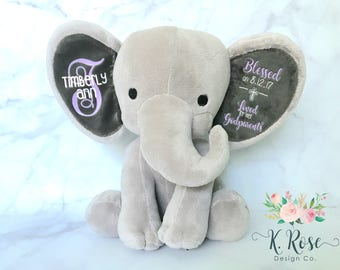 Baptism Gift, Christening Gift, Elephant Keepsake, Stuffed Elephant, Godparent Gift, Gift From Godparents, Personalized Elephant
