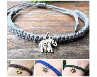 Hemp Elephant Bracelet - Adjustable Lucky Animal Jewelry - Bronze, Silver, or Gold Charm - For Men or Women - Gift for Elephant Lover