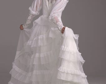 80s wedding gown etsy 80s victorian revival ruffles ornate wedding gown junglespirit Gallery